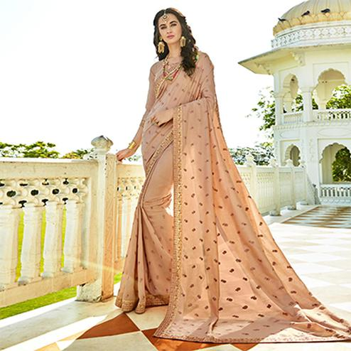 Adorable Beige Colored Designer Embroidered Soft Silk Saree