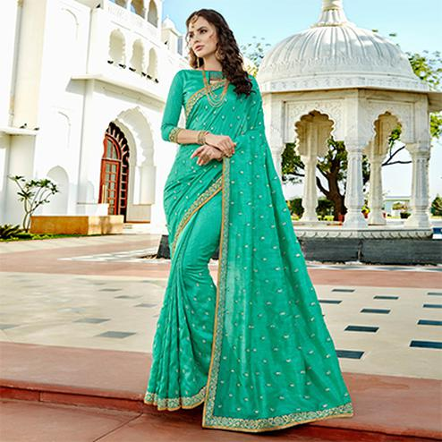 Radiant Sea Green Colored Designer Embroidered Soft Silk Saree