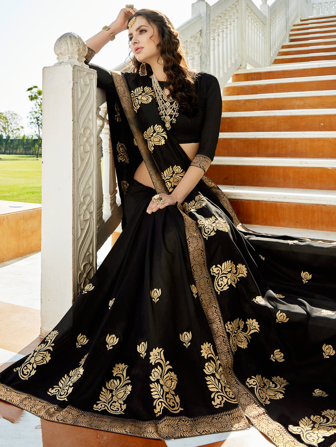 Preferable  Black Colored Designer Embroidered Soft Silk Saree