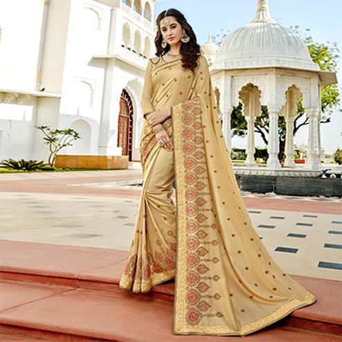 Glorious Beige Colored Designer Embroidered Soft Silk Saree
