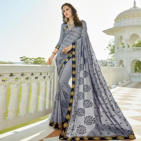 Elegant Grey Colored Designer Embroidered Soft Silk Saree