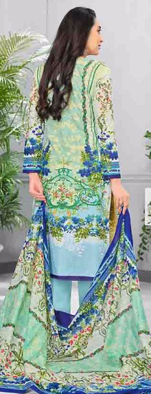 Refreshing Green Colored Casual Printed Pure Cotton Dress Material