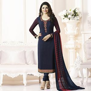Blue French Crepe Designer Embroidered Partywear Salwar Suit