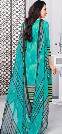 Beautiful Aqua Green Colored Casual Printed Pure Cotton Dress Material
