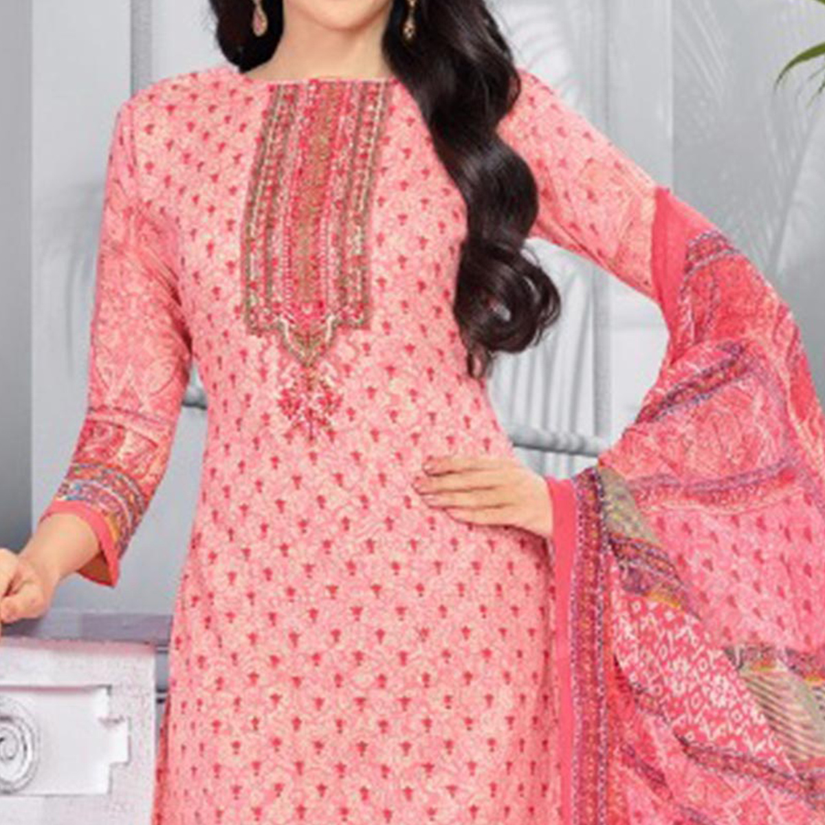 Perfect Pink Colored Casual Printed Pure Cotton Dress Material
