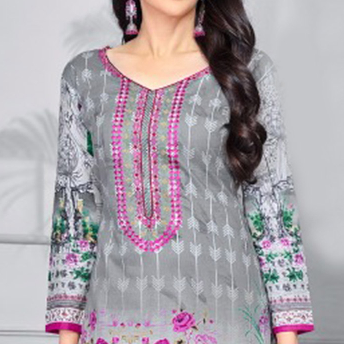 Trendy Gray Colored Casual Printed Pure Cotton Dress Material