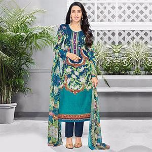 Stylish Teal Green Colored Casual Printed Pure Cotton Dress Material