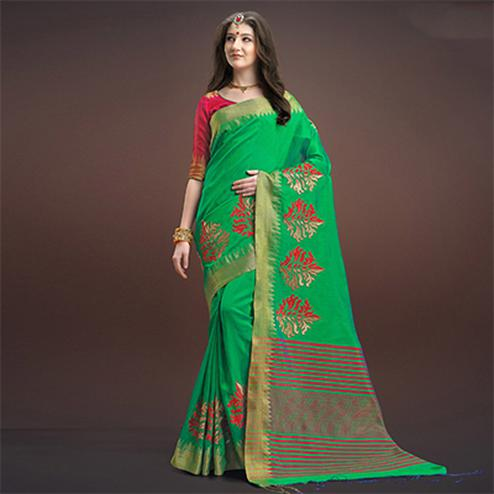 Pretty Green Colored Designer Festive Wear Weaving Silk Saree