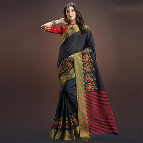 Majesty Black Colored Designer Festive Wear Weaving Silk Saree