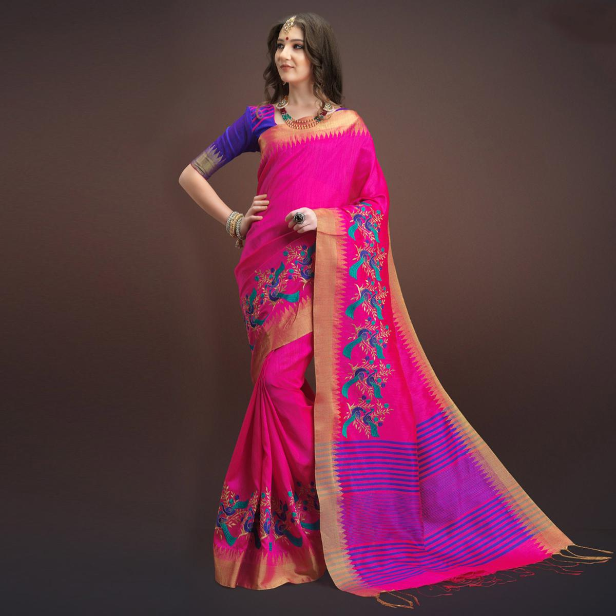 Precious Deep Pink Colored Designer Festive Wear Weaving Silk Saree