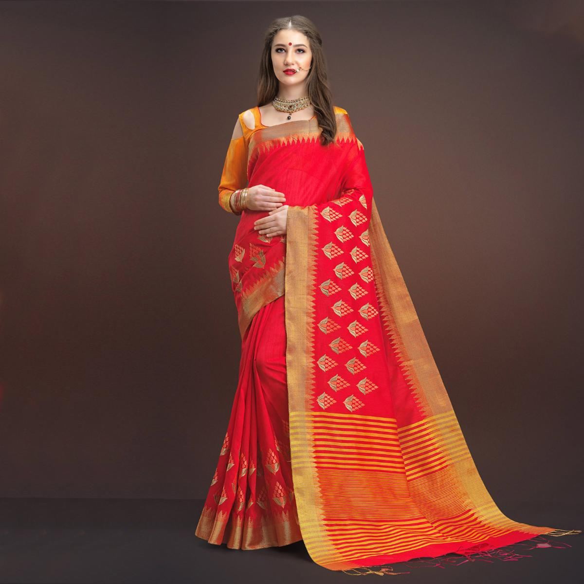 Pleasant Deep Red Colored Designer Festive Wear Weaving Silk Saree