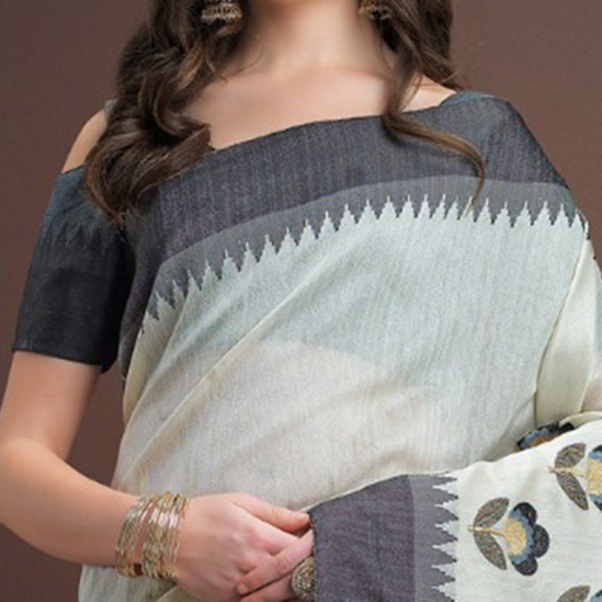 Classy Light Grey Colored Designer Festive Wear Weaving Silk Saree
