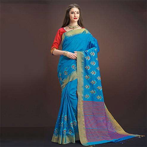 Adorning Sky Blue Colored Designer Festive Wear Weaving Silk Saree