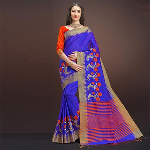 Glowing Blue Colored Designer Festive Wear Weaving Silk Saree