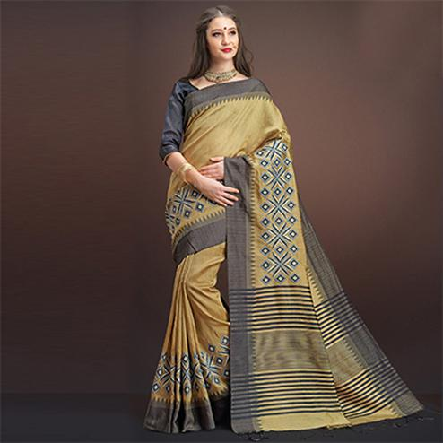 Awesome Beige Colored Designer Festive Wear Weaving Silk Saree