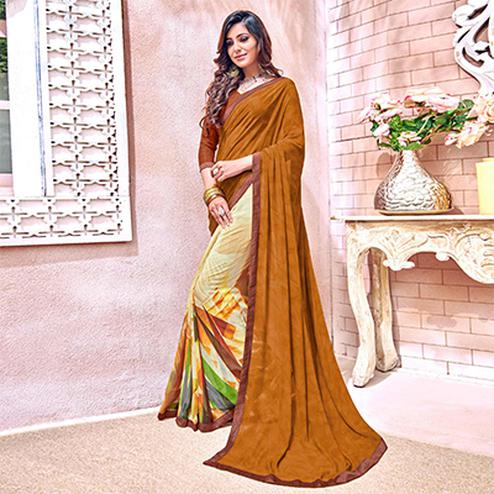 Glowing Brown Colored Designer Digital Printed Georgette Saree