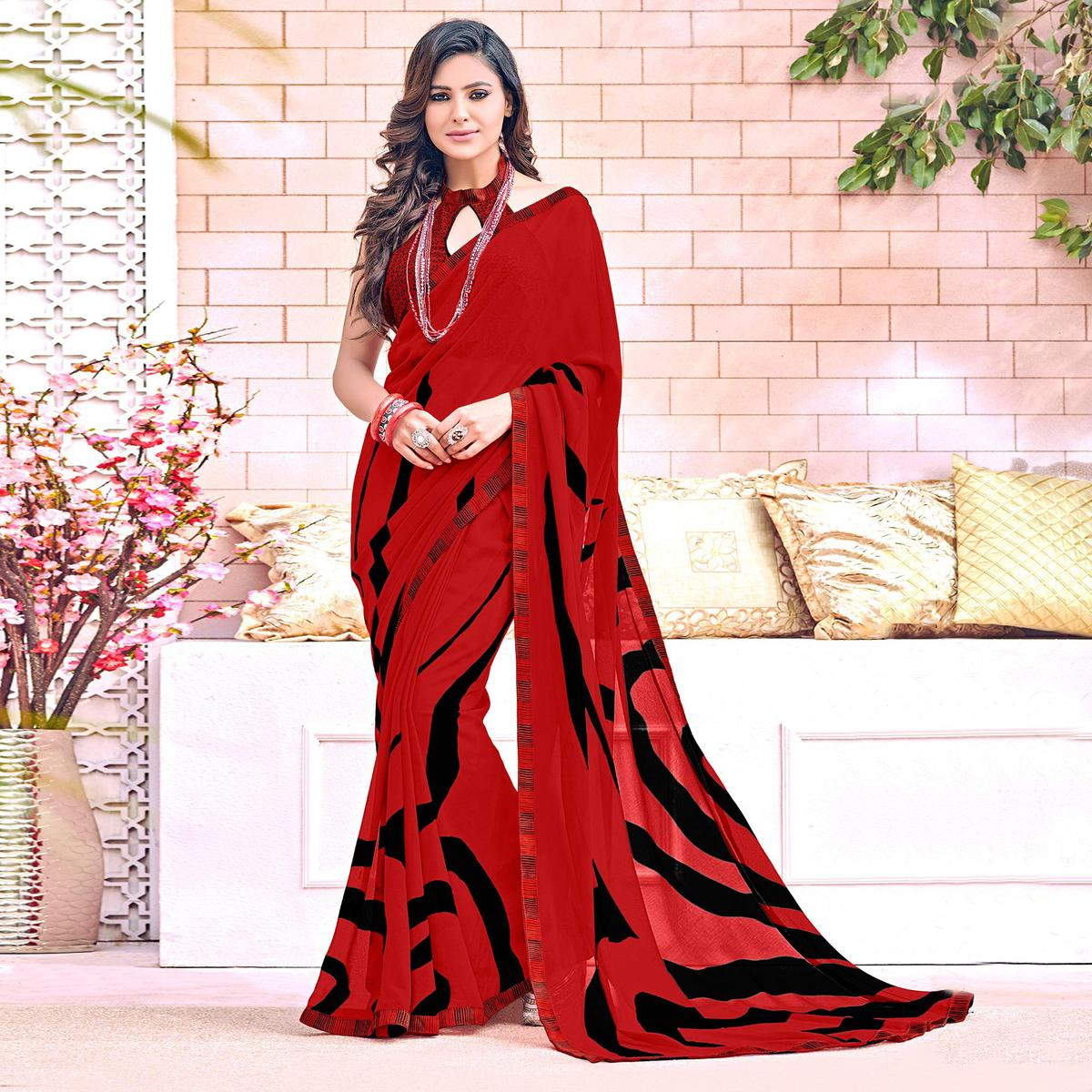 Snazzy Red Colored Designer Digital Printed Georgette Saree