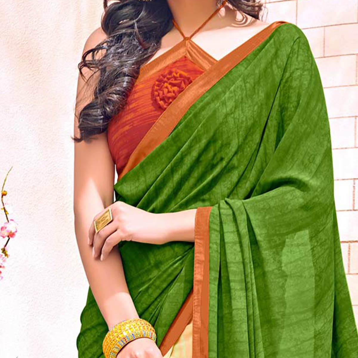 Awesome Green Colored Designer Digital Printed Georgette Saree