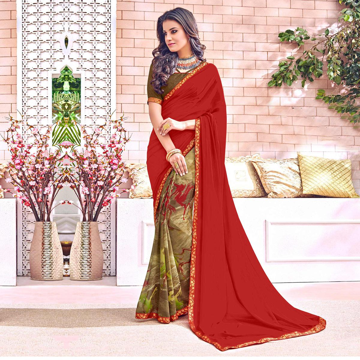 Precious Maroon Colored Designer Digital Printed Georgette Saree
