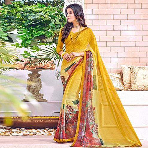 Exotic Yellow Colored Designer Digital Printed Georgette Saree