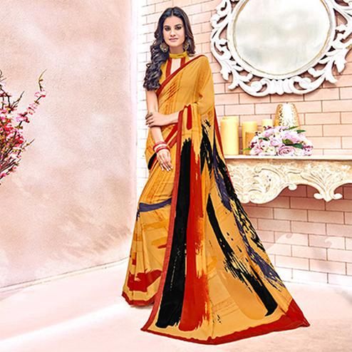 Preferable Orange Colored Designer Digital Printed Georgette Saree