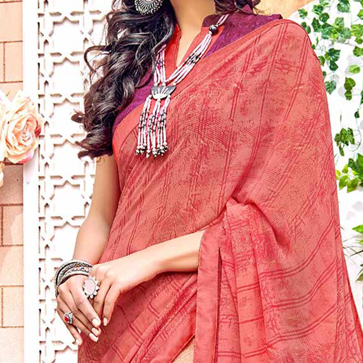 Adorning Peach Colored Designer Digital Printed Georgette Saree