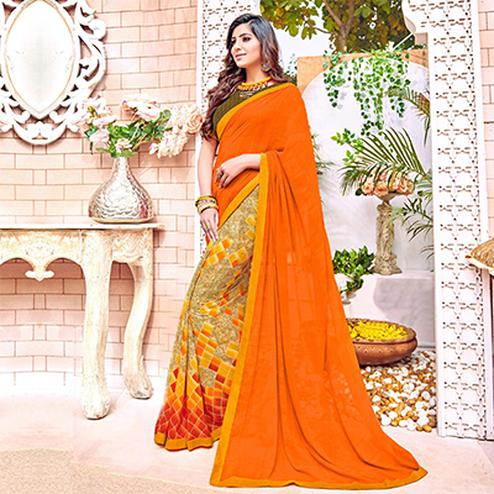 Stunning Orange Colored Designer Digital Printed Georgette Saree