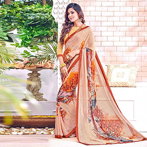 Ravishing Cream Colored Designer Digital Printed Georgette Saree