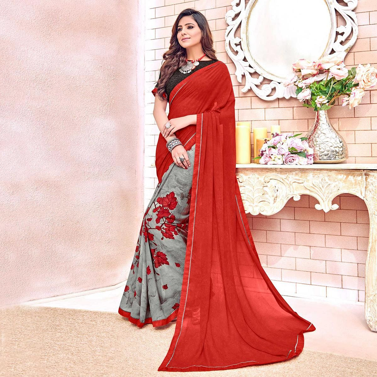 Charming Red Colored Designer Digital Printed Georgette Saree