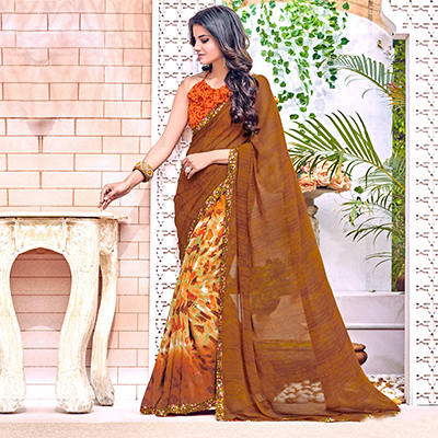 Lovely Brown Colored Designer Digital Printed Georgette Saree