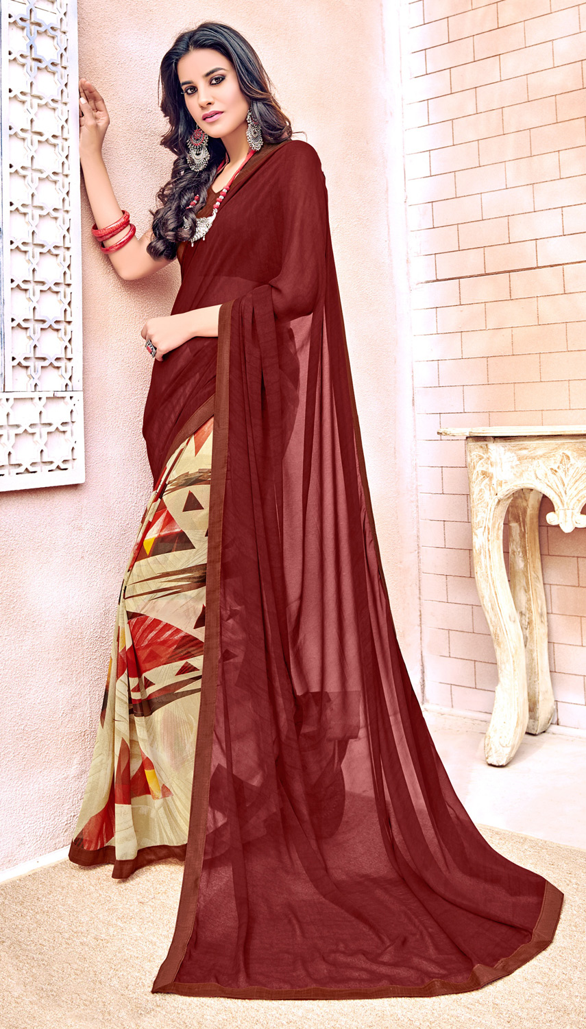 Beautiful Maroon Colored Designer Digital Printed Georgette Saree