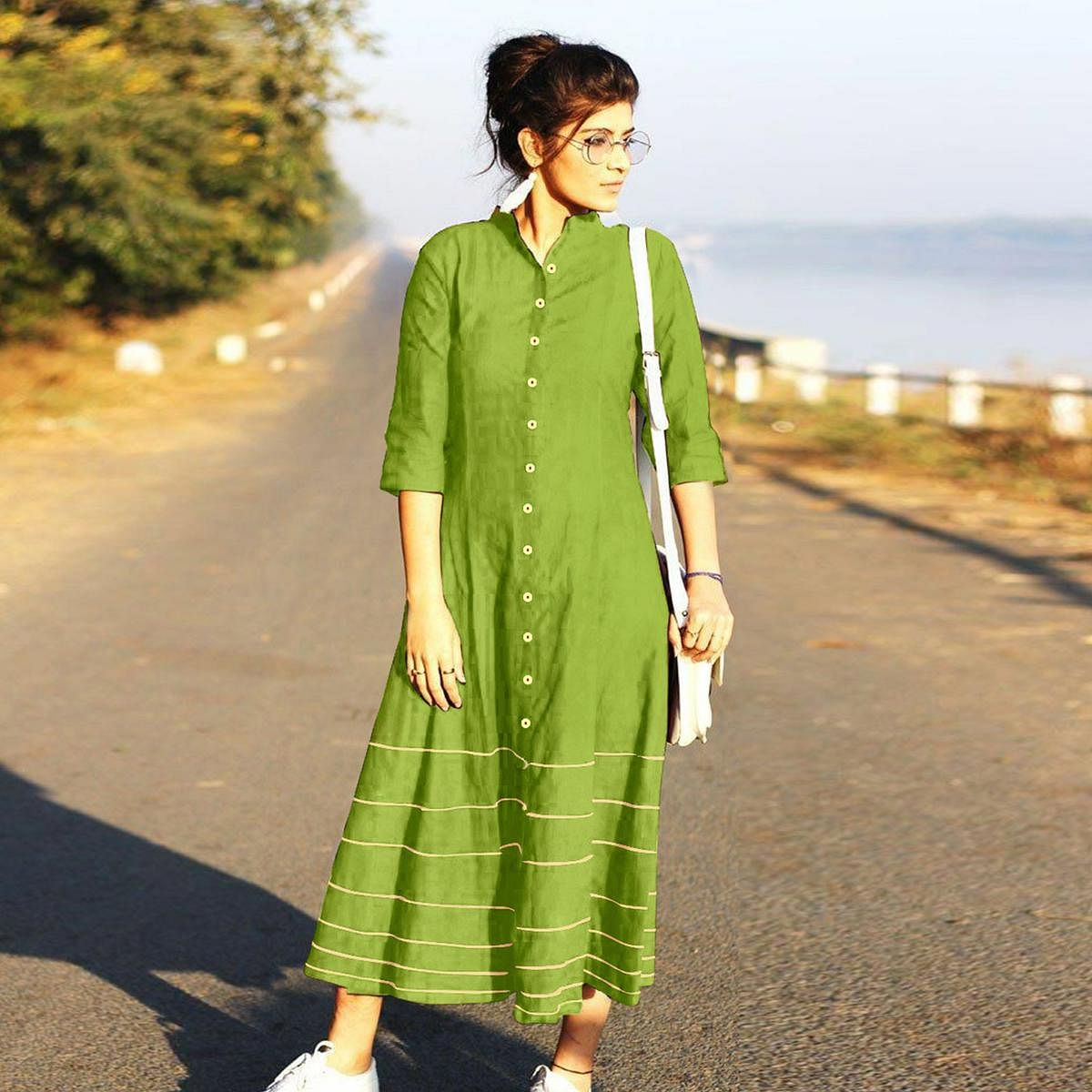Demanding  Green Designer Fancy Slub Cotton Kurti
