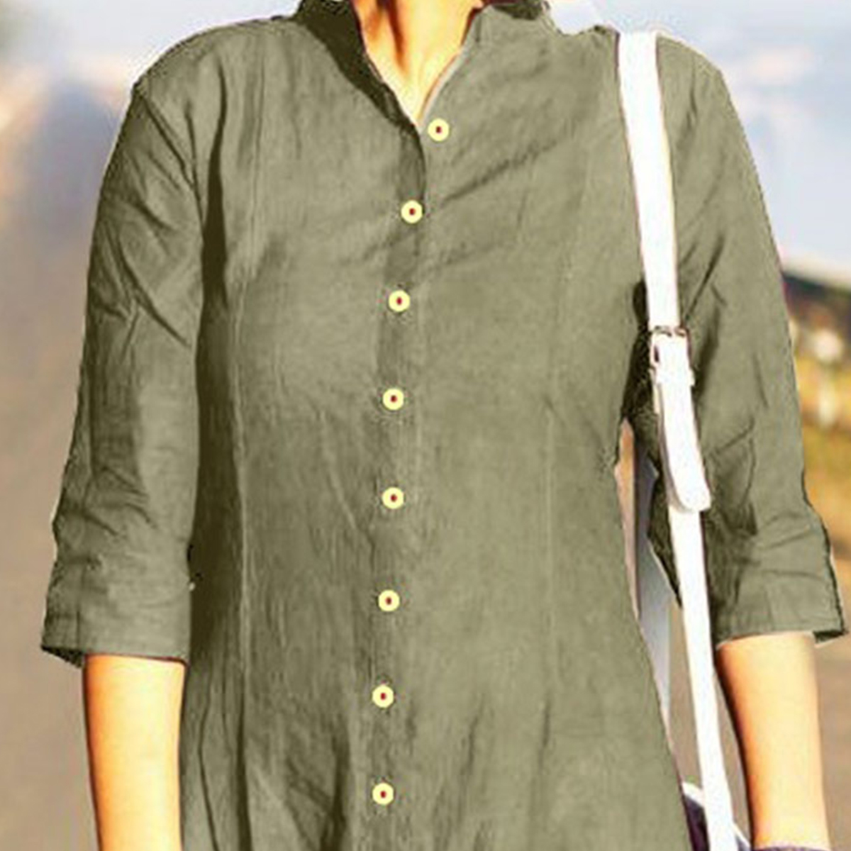 Unique Khaki Designer Fancy Slub Cotton Kurti