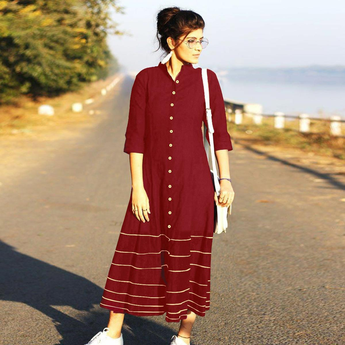 Refreshing  Maroon Designer Fancy Slub Cotton Kurti