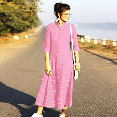 Alluring Pink Designer Fancy Slub Cotton Kurti