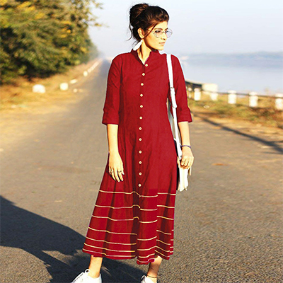 Radiant Red Designer Fancy Slub Cotton Kurti