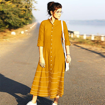 Opulent Yellow Designer Fancy Slub Cotton Kurti