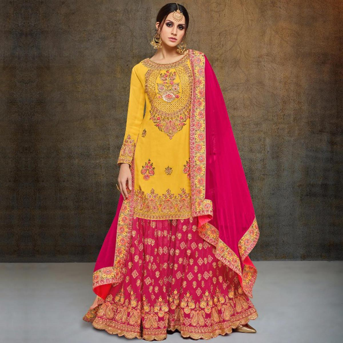6076826d2e7 Buy Glowing Yellow-Pink Colored Partywear Heavy Embroidered Georgette  Palazzo Suit for womens online India