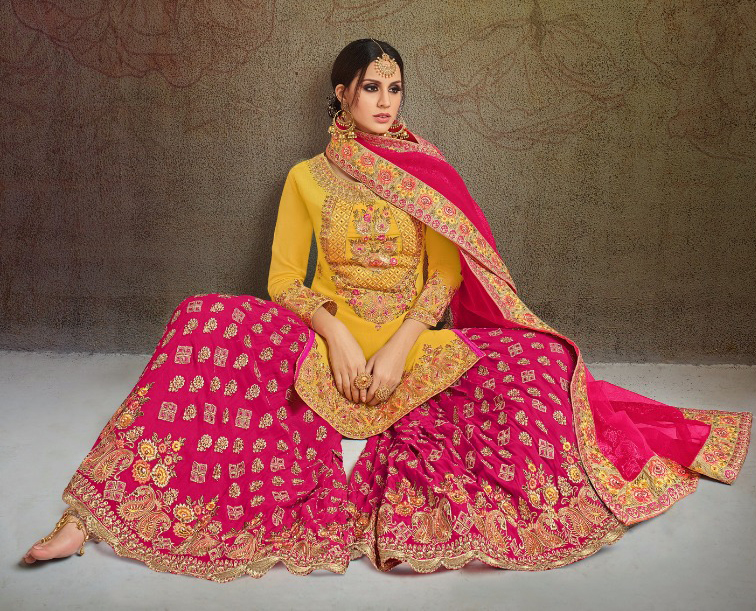 Glowing Yellow-Pink Colored Partywear Heavy Embroidered Georgette Palazzo Suit