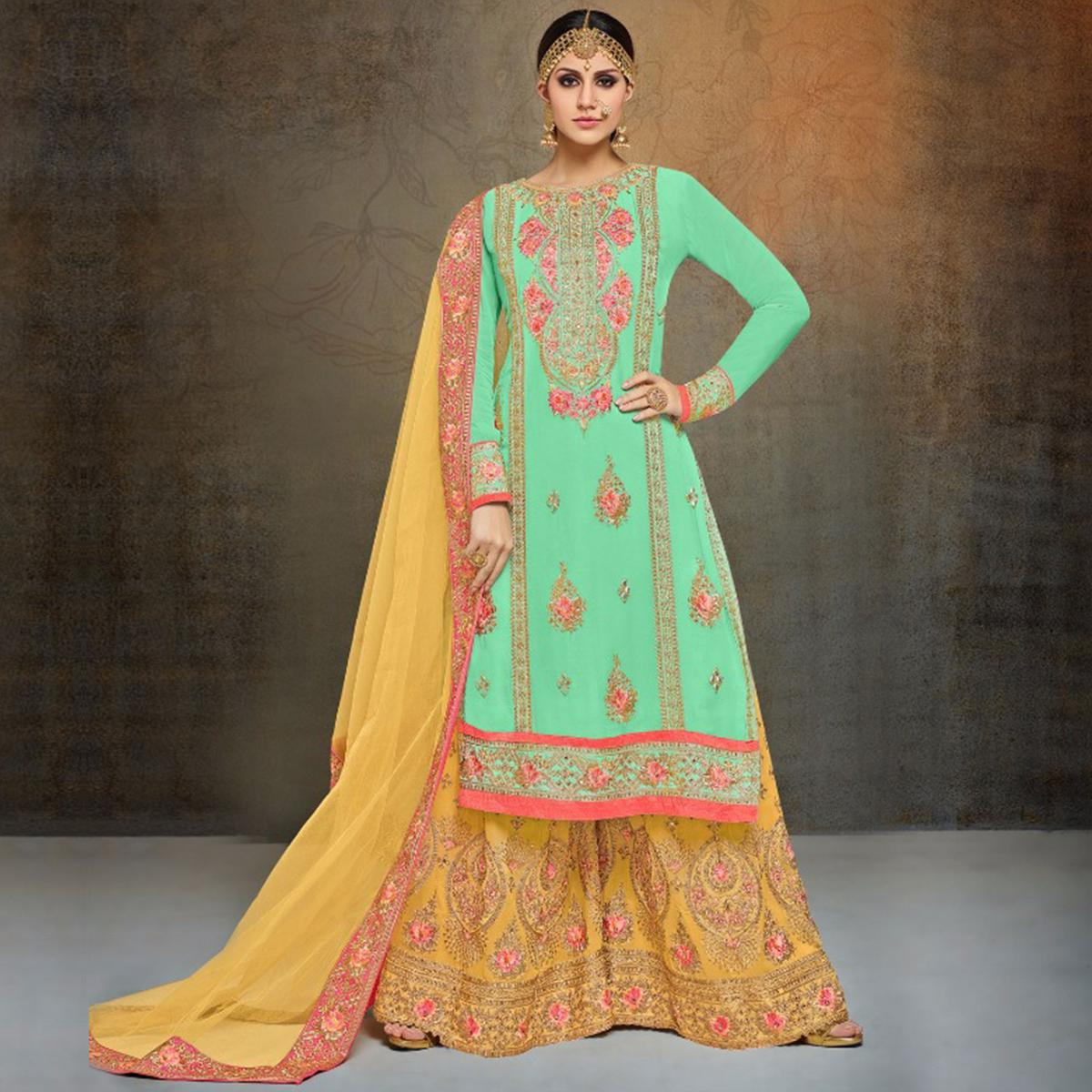 b2211eb4948 Buy Elegant Aqua Green-Yellow Colored Partywear Heavy Embroidered Georgette  Palazzo Suit for womens online India