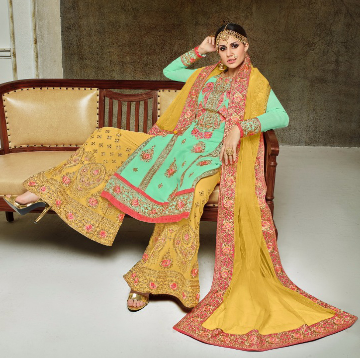 Elegant Aqua Green-Yellow Colored Partywear Heavy Embroidered Georgette Palazzo Suit