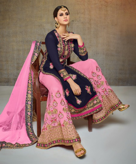 Majestic Navy Blue-Pink Colored Partywear Heavy Embroidered Georgette Palazzo Suit