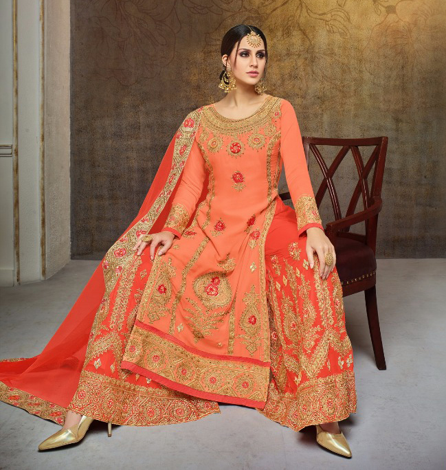 Awesome Peach Colored Partywear Heavy Embroidered Georgette Palazzo Suit