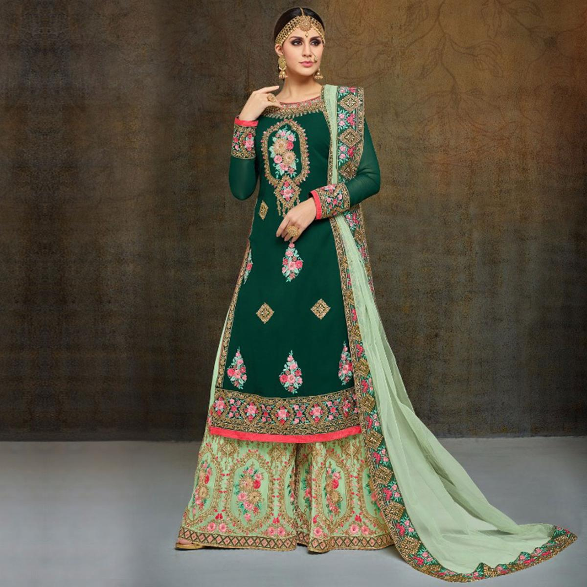 7bd33840c9 Buy Demanding Dark Green-Mint Green Colored Partywear Heavy Embroidered Georgette  Palazzo for womens online India, Best Prices, Reviews - Peachmode