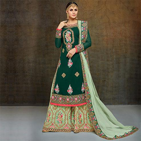 Demanding Dark Green-Mint Green Colored Partywear Heavy Embroidered Georgette Palazzo Suit