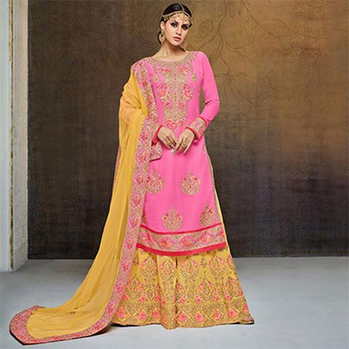 Dazzling Pink-Yellow Colored Partywear Heavy Embroidered Georgette Palazzo Suit