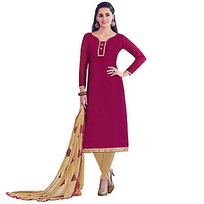 Magenta Colored Embroidered Work Casual Wear Chanderi Silk Suit