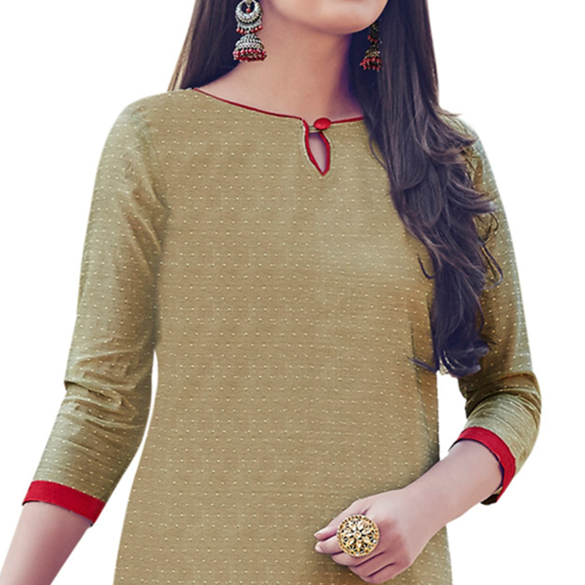 Beige Colored Embroidered Work Casual Wear Chanderi Suit