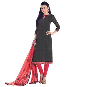 Grey Colored Embroidered Work Casual Wear Chanderi Suit