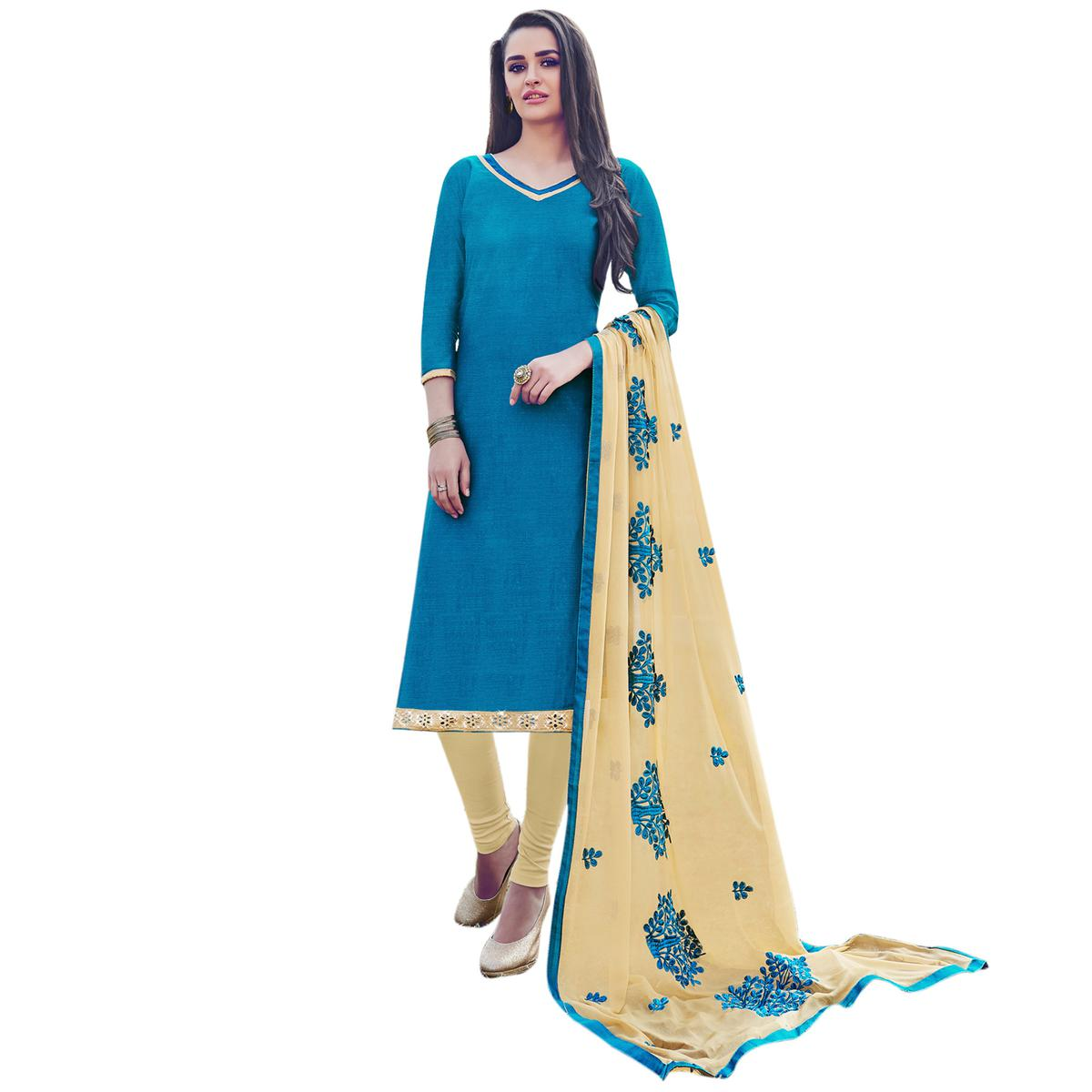 Blue Colored Embroidered Work Casual Wear Chanderi Suit